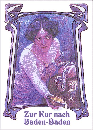 Старинная реклама, 1910 год, виноградолечения в Баден Бадене